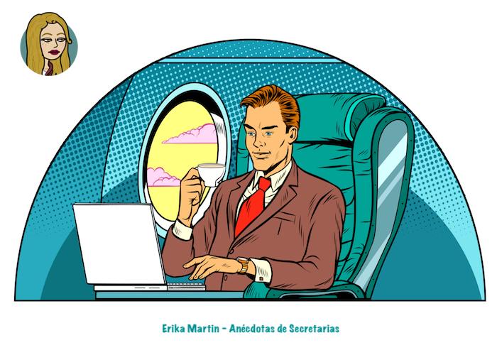 directivo trabajando en cabina avion