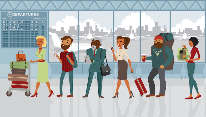 cola pasajeros en aeropuerto