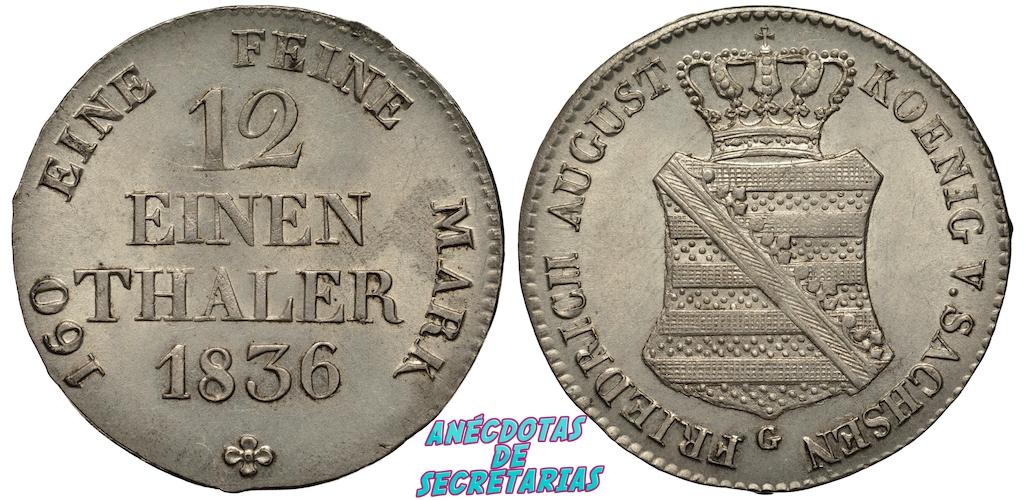 thaler plata sajon 1836