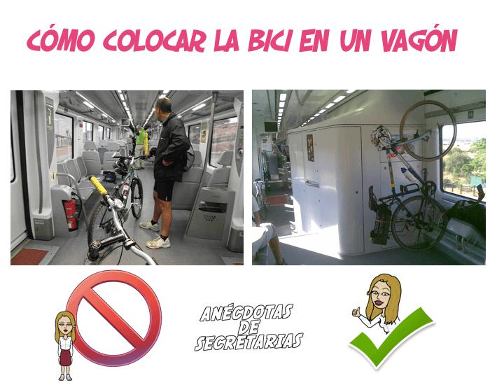 como colocar la bici en un vagon de tren