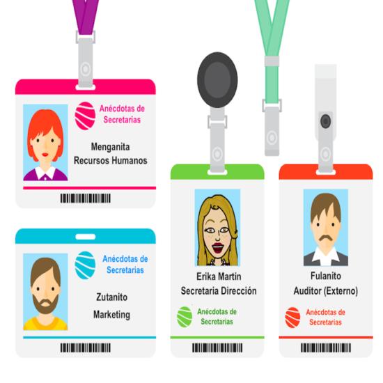 La tarjeta de identificación de visitas y empleados