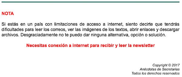 conexion internet para recibir newsletters