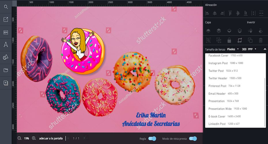 elegir tamaño imagen redes sociales con editor shutterstock
