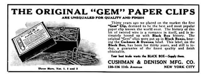 Anuncio clip de gema de Cushman & Denison
