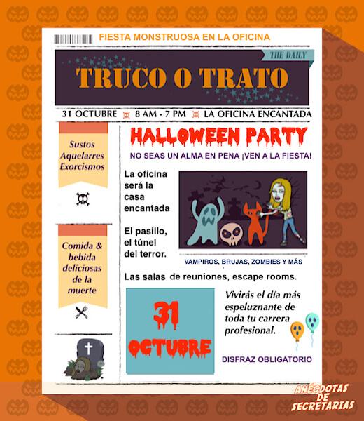 invitacion a la fiesta de halloween en oficina