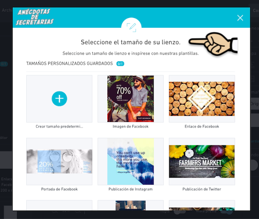 Shutterstock editor Elegir tamaño lienzo imagen