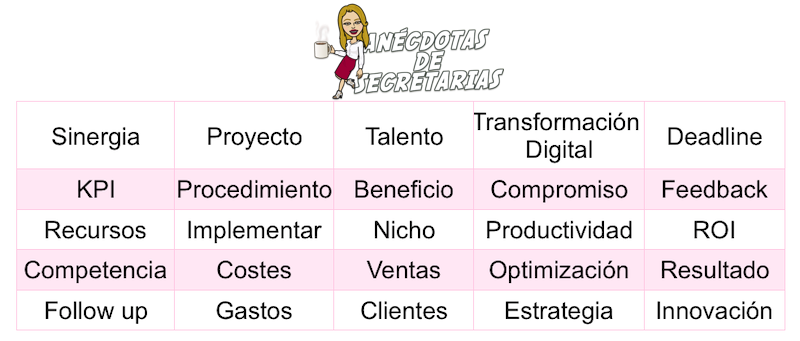 Ejemplo palabras bingo en reuniones
