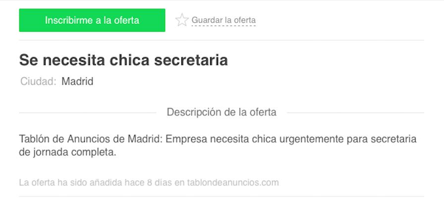 se necesita chica secretaria