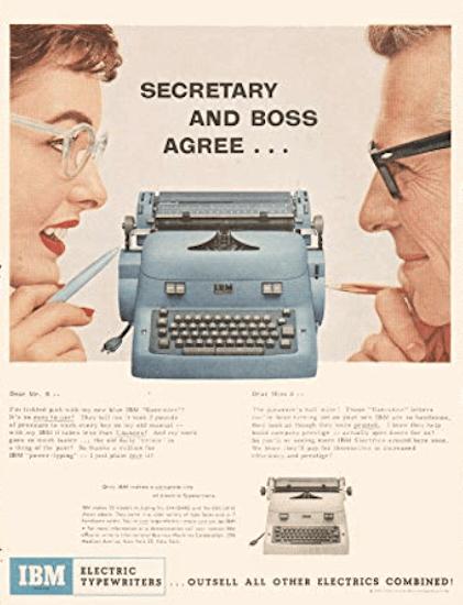 Anuncio 1950 maquina escribir electrica IBM