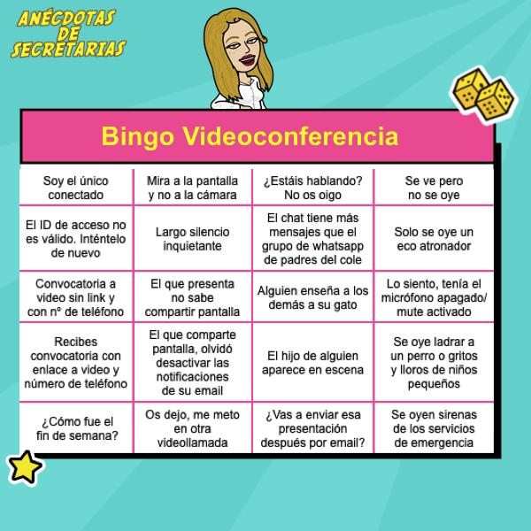 carton de bingo para jugar en videoconferencia de trabajo