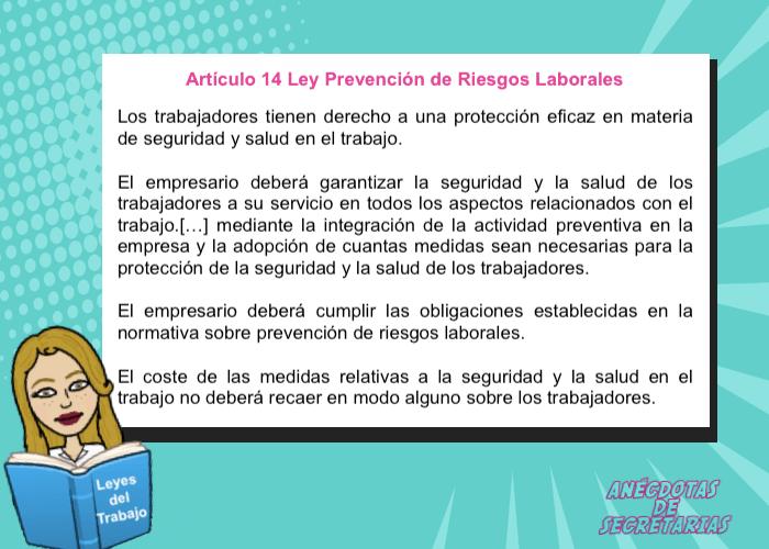 articulo 14 Ley Prevencion de riesgos laborales