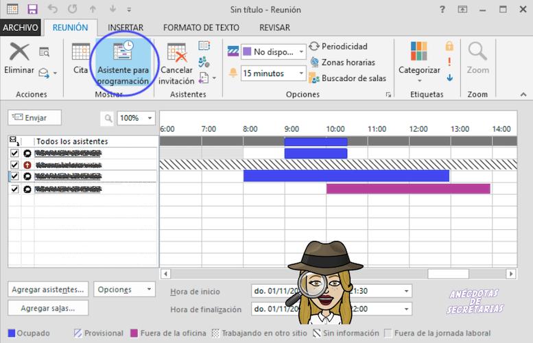 asistente de programacion en calendario outlook